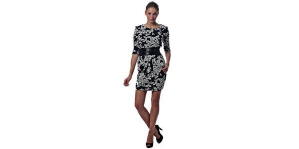 Dámske čiernobiele pletené šaty Miss Sixty s kvetinovým vzorom a opaskom