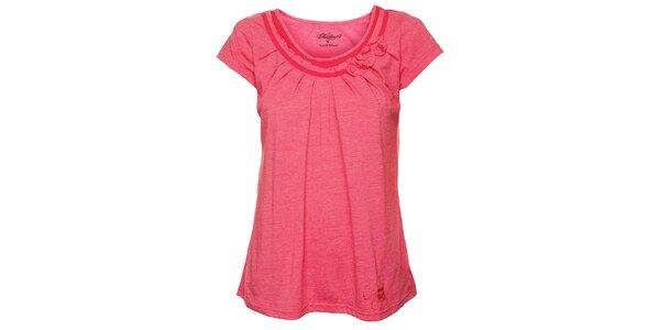 Dámske ružové tričko s riasením Fundango