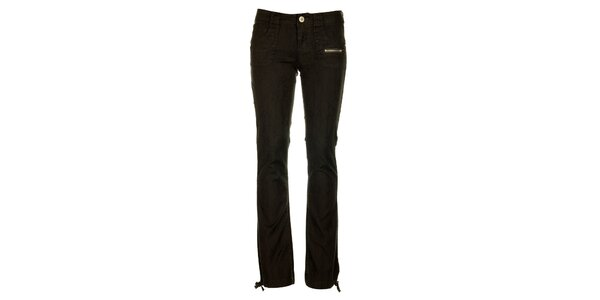 Dámske antracitové nohavice Fundango s čiernou potlačou