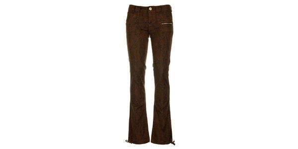 Dámske hnedé nohavice Fundango s čiernou potlačou