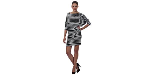 Dámske čiernobiele pruhované šaty Miss Sixty