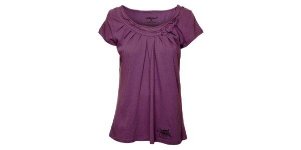 Dámske fialové tričko s riasením Fundango