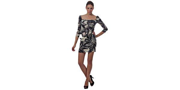 Dámske čiernobiele mini šaty Miss Sixty s kvetinovým vzorom