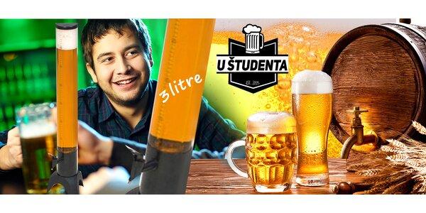 3 litre piva v pivnej žirafe v bare U Študenta