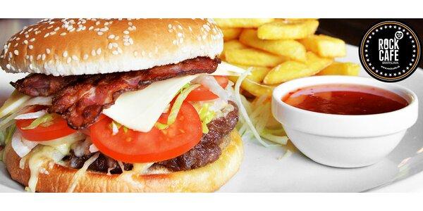 Vypeckované hamburgery v Rock Cafe Bratislava