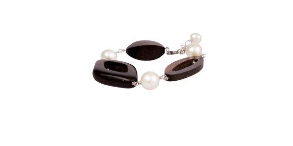 Dámsky perlový náramok Arla s drevenými korálkami