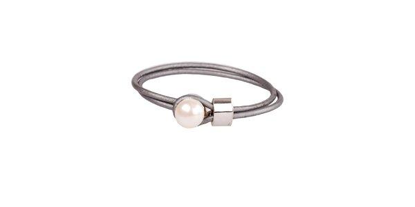 Dámsky strieborný kožený náramok Arla s perlou