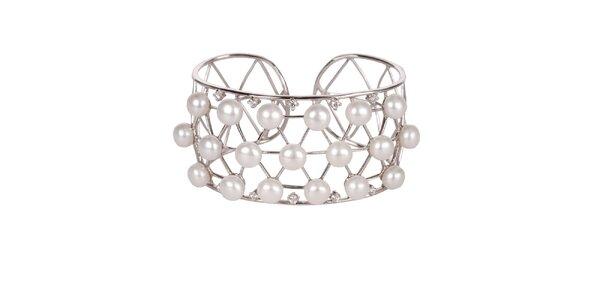 Dámsky strieborný náramok Arla s perlovými korálkami a kryštálmi