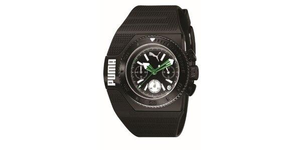 Pánske čierne analogové hodinky so zelenými detailami Puma