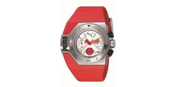 Červené analogové hodinky s bielymi detailami Puma
