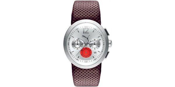 Pánske hnedo-strieborné analogové hodinky Puma