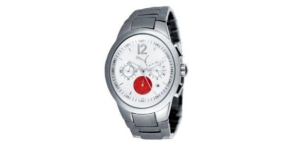Pánske strieborné analogové hodinky s červeným detailom Puma