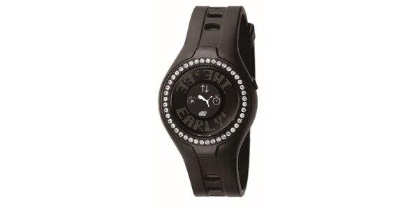 Dámske hnedé digitálne hodinky s kryštálmi Puma