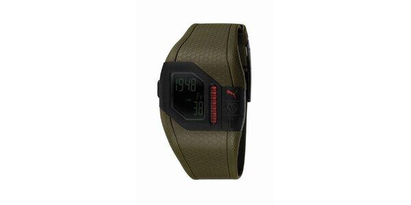 Pánske zelené digitálne hodinky s červenými detailami Puma