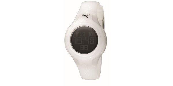 Biele digitálne hodinky s jemným vzorom Puma
