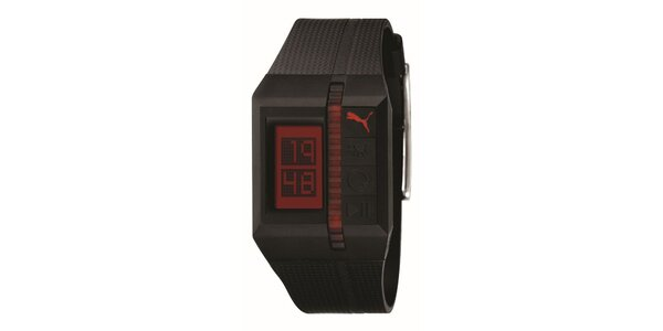 Tmavo fialové digitálne hodinky s červenými detailami Puma