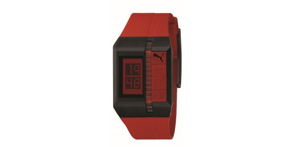 Pánske červeno-hnedé digitálne hodinky Puma