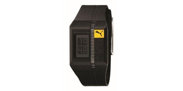 Pánske hnedé digitálne hodinky so žltým detailom Puma