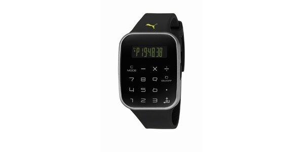 Čierne digitálne hodinky s klávesnicou Puma