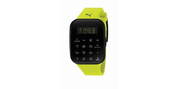 Zeleno-čierne digitálne hodinky Puma