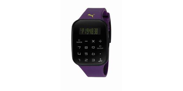 Čierno-fialové digitálne hodinky s klávesnicou Puma