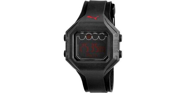 Pánske čierne digitálne hodinky červenými deatilami Puma