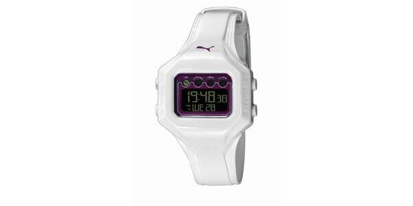 Bielo-fialové digitálne hodinky Puma