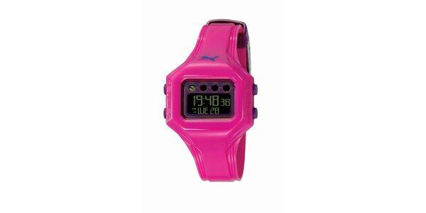 Ružové digitálne hodinky s fialovými deatilami Puma
