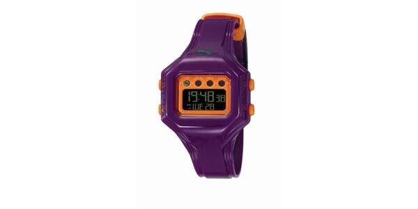 Fialovo-oranžové digitálne hodinky Puma