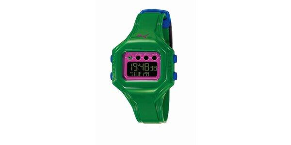 Zeleno-ružové digitálne hodinky s modrými detailami Puma