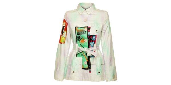Dámsky biely kabátik Custo Barcelona s barevným potlačou