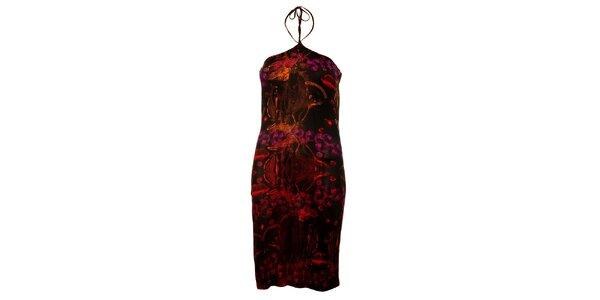 Dámske čierne šaty Custo Barcelona s fialovou potlačou