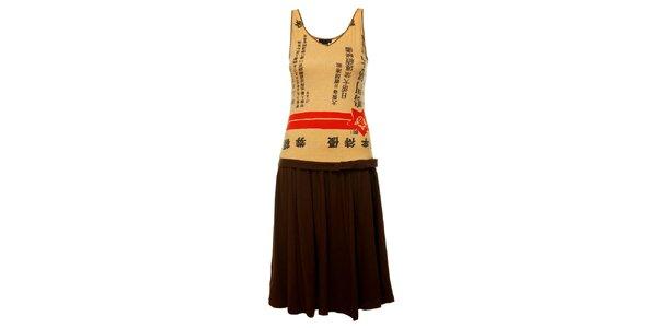 Dámske hnedo-béžové šaty Custo Barcelona s čínskými znakmi