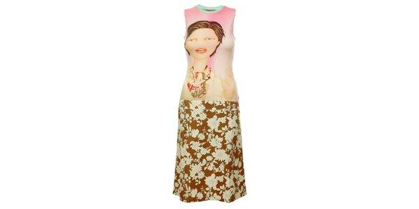 Dámske béžové šaty Custo Barcelona s potlačou