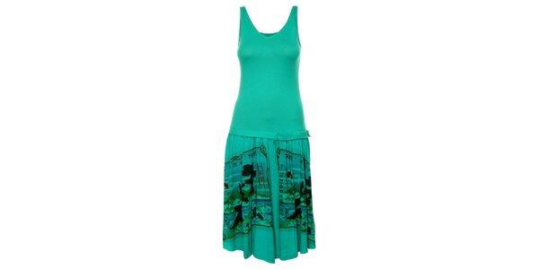 Dámske tyrkysové šaty Custo Barcelona s potlačou