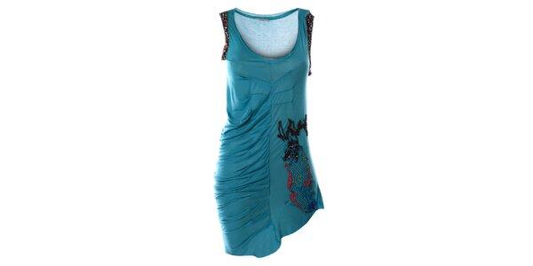 Dámske tyrkysové šaty bez rukávov s výšivkou Angels Never Die