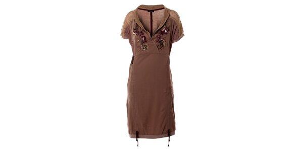 Dámske hnedé šaty so sieťovaním Angels Never Die