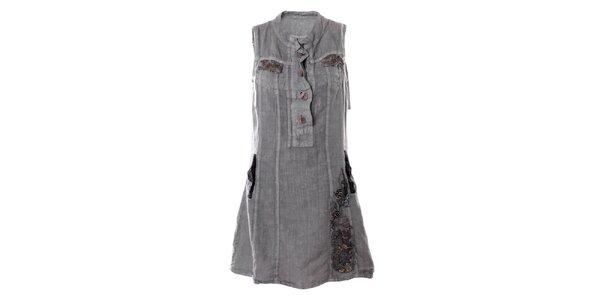 Dámske šedé šaty bez rukávov s vreckami Angels Never Die