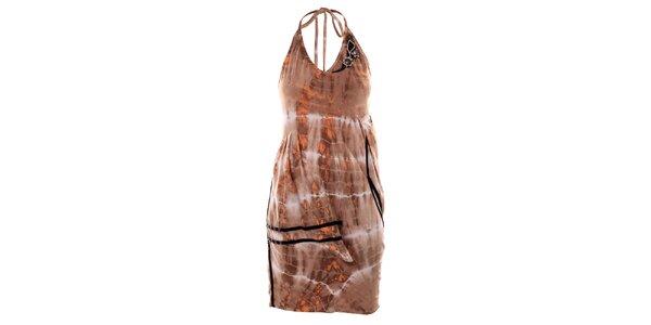 Dámske hnedé batikované šaty Angels Never Die