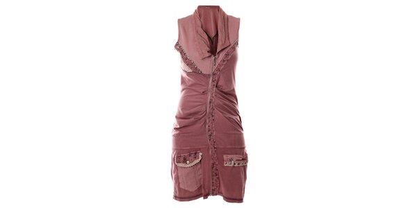 Dámske svetlo ružové košeľové šaty bez rukávov Angels Never Die 9e1eaa54ea