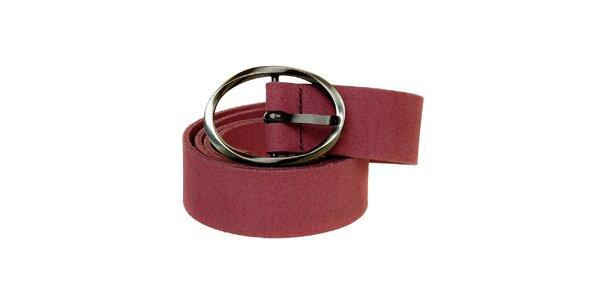 Dámsky fialovoružový kožený opasok Levi´s s guľatou sponou