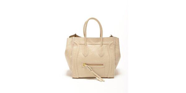 Dámska béžová kabelka s copíkovým detailom Renata Corsi