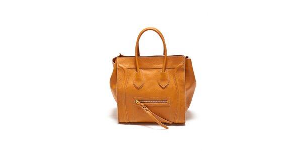 Dámska koňaková kabelka s copíkovým detailom Renata Corsi
