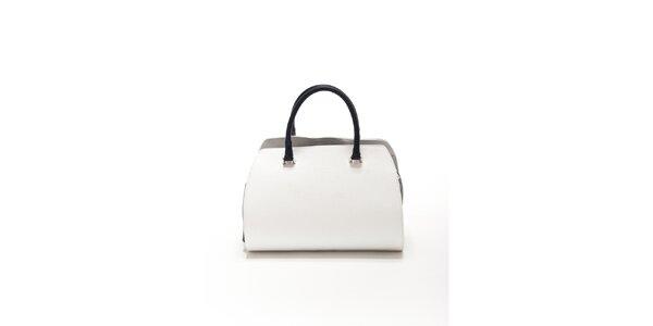 Dámska bielo-čierna kožená kabelka Renata Corsi