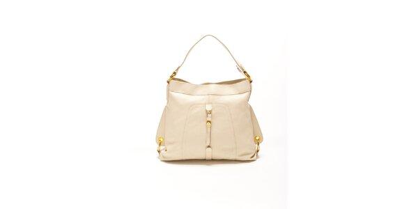 Dámska béžová kabelka so zlatými prackami Renata Corsi