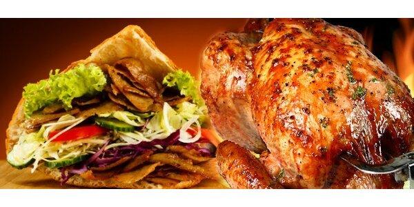 Grilované kurča alebo kebab + hranolky, nápoj
