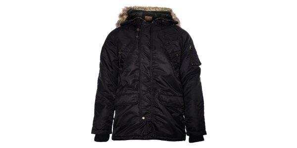 Pánska čierná bunda Pepe Jeans s kožúškom
