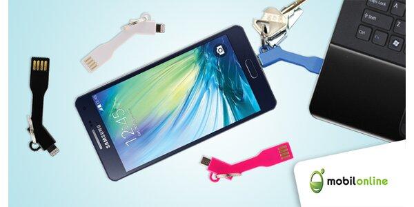 Dátový a nabíjací USB kábel na kľúčenke