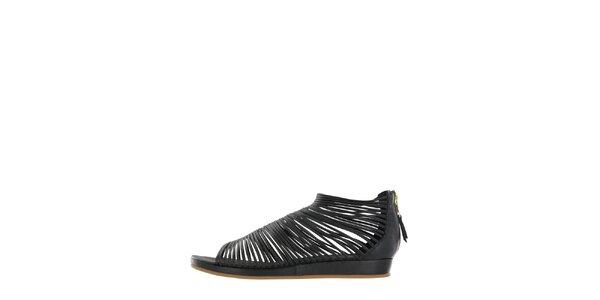 Dámske čierne pásikové sandálky Flip Flop