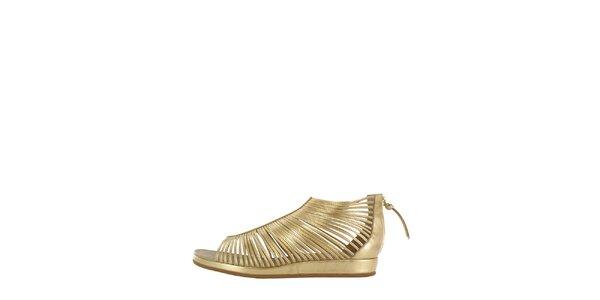 Dámske zlaté pásikové sandálky Flip Flop